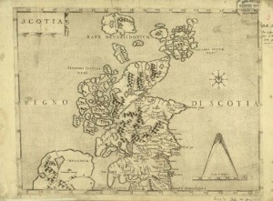 A map of Scotland believed to be produced by Paolo Forlani between 1558 and 1566