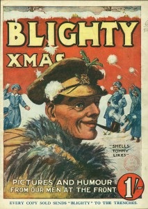 Front cover, 'Shells Tommy Likes', Blighty, Christmas 1917.