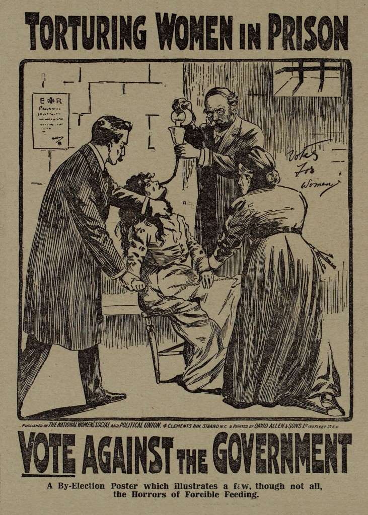 By-Election poster: 'Torturing women in prison', Votes for Women, 29 October 1909, p.68.