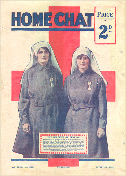 Nurses Elsie Knocker and Mairi Chisholm, Front cover, Home Chat, 13 April 1918.