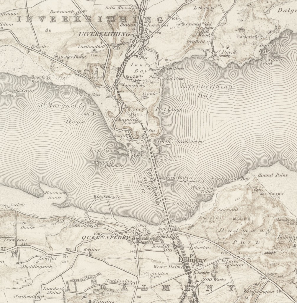 This admiralty chart shows the steam ferry crossing to North Queensferry. Firth of Forth; Admiralty Chart 116 (1960)