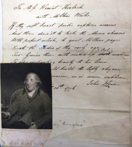 letter and portrait of John Home