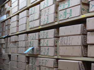 The boxes of incoming correspondence in the JMA when it arrived at the National Library of Scotland in 2006