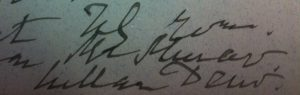 The signature of William Dew?