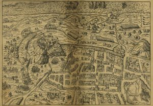 birds-eye view of Siege of Edinburgh Castle in 1573