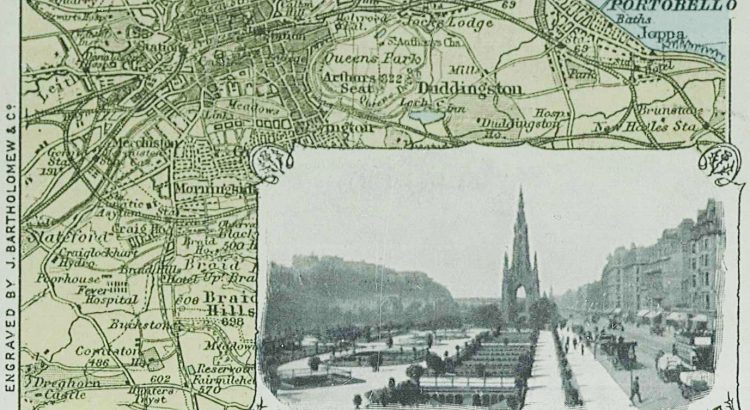 Geographical Series No 121 Postcard- Edinburgh with Princes Street inset