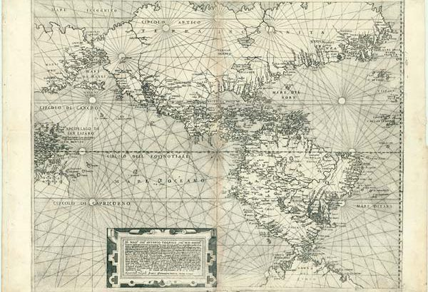 1574 map showing North and South America