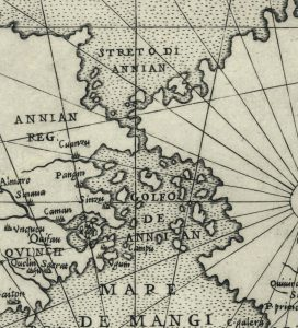 small section of map showing Streo Di Annian separating Asia from North America
