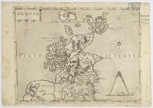 map of Scotland printed around 1566
