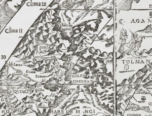 1561 map showing Streto di Anian separating Asia from North America