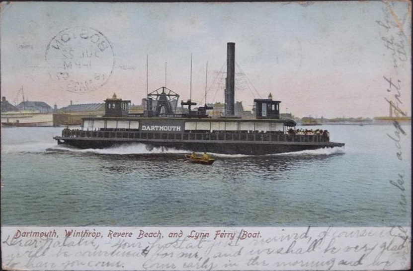 Dartmouth Ferry Postcard (PD-US) showing message written over image