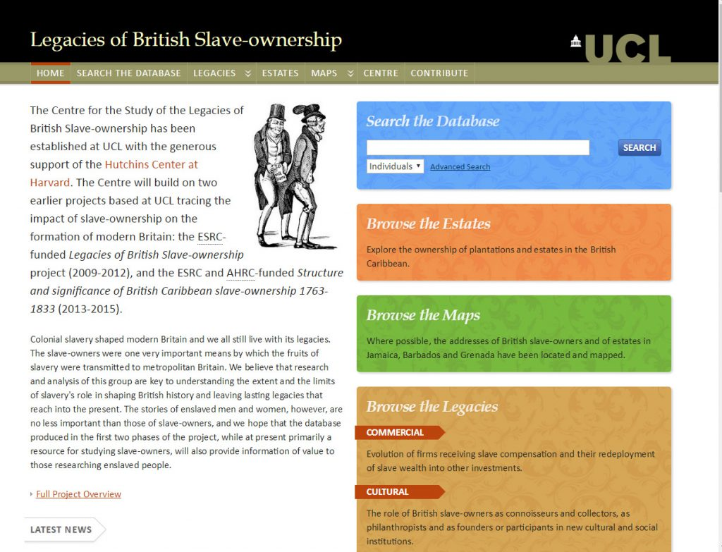 Legacies of British Slave Ownership project homepage