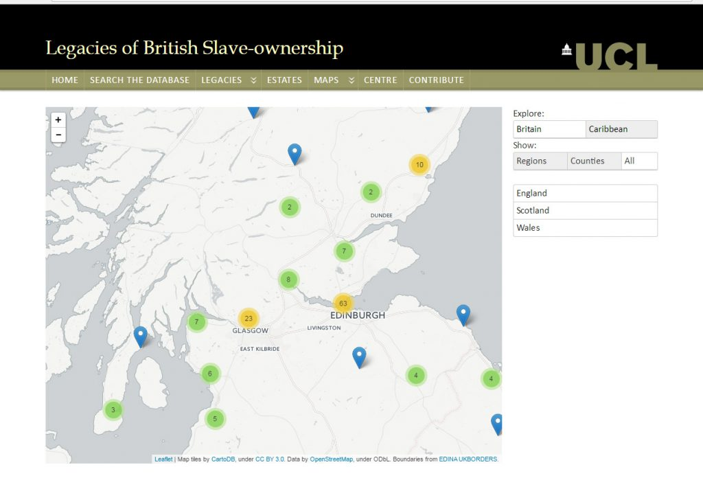 Legacies of British Slave Ownership map search interface