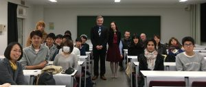 Yamanashi University students, staff and curator Colin McIlroy