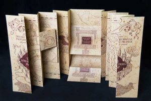 Photograph of Marauders Map, with flaps folded out
