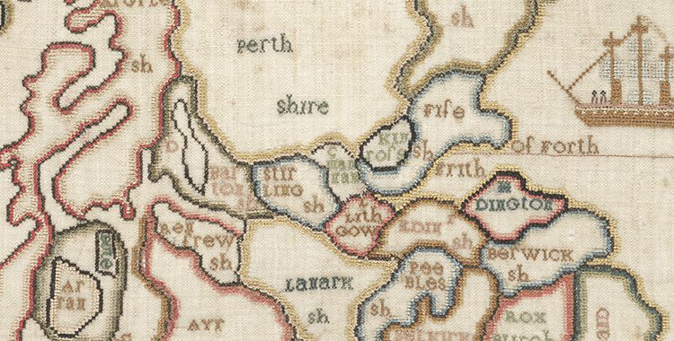 Map Of Uk 1800.March S Map Of The Month A Map Of Scotland Stitched By Margaret
