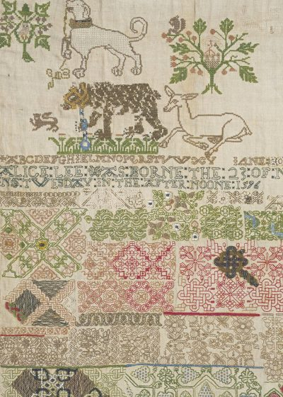 Image of a sampler by Jane Bostocke, dated 1598, in the Victoria and Albert Museum