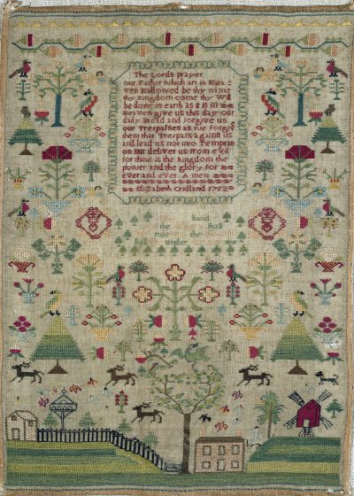 Image of a 1752 sampler by Elizabeth Cridland, in the Victoria and Albert Museum