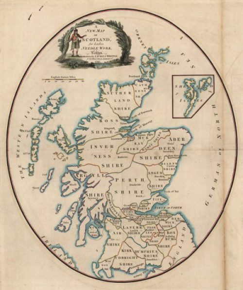 Image of Laurie and Whittle's map of Scotland, a paper template for ladies needlework