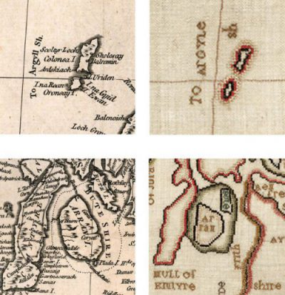 Images showing details from Palmer's map compared with similar areas on Margaret Montgomery's needlework map