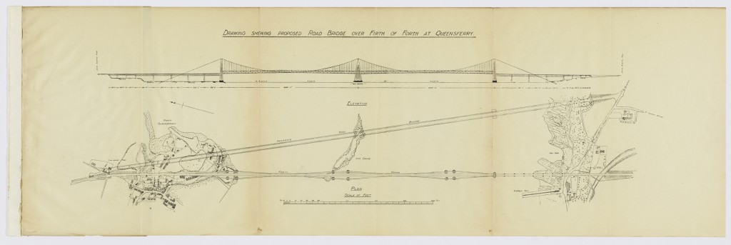 Drawing Showing Proposed Road Bridge over the Forth at Queensferry. DOD ID: 117885630