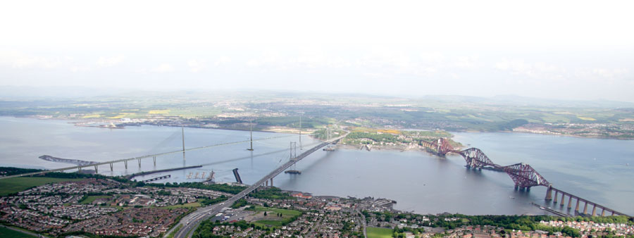 This image is from Transport Scotland and is licensed for reuse under the Open Government License. It provides an impression of the new Queensferry Crossing with both current bridges as viewed from the South.