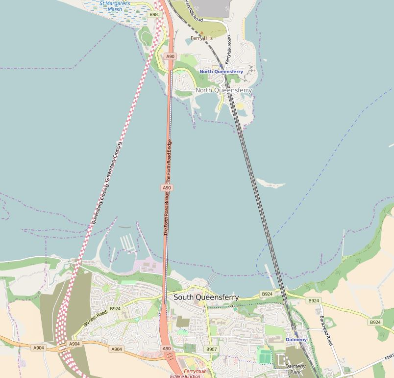 This extract was taken from OpenStreetMap and clearly shows the planned route of the new bridge