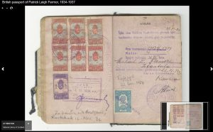 Photograph of pages from Patrick Leigh Fermor's passport