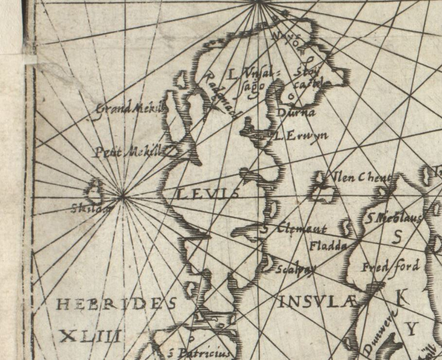 Detail showing St Kilda and Lewis from Nicolas de Nicolay's chart, 1583.