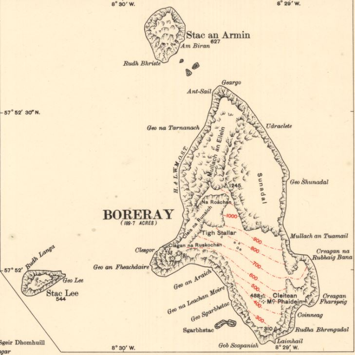 Boreray Island on Map of St Kilda or Hirta. 1928