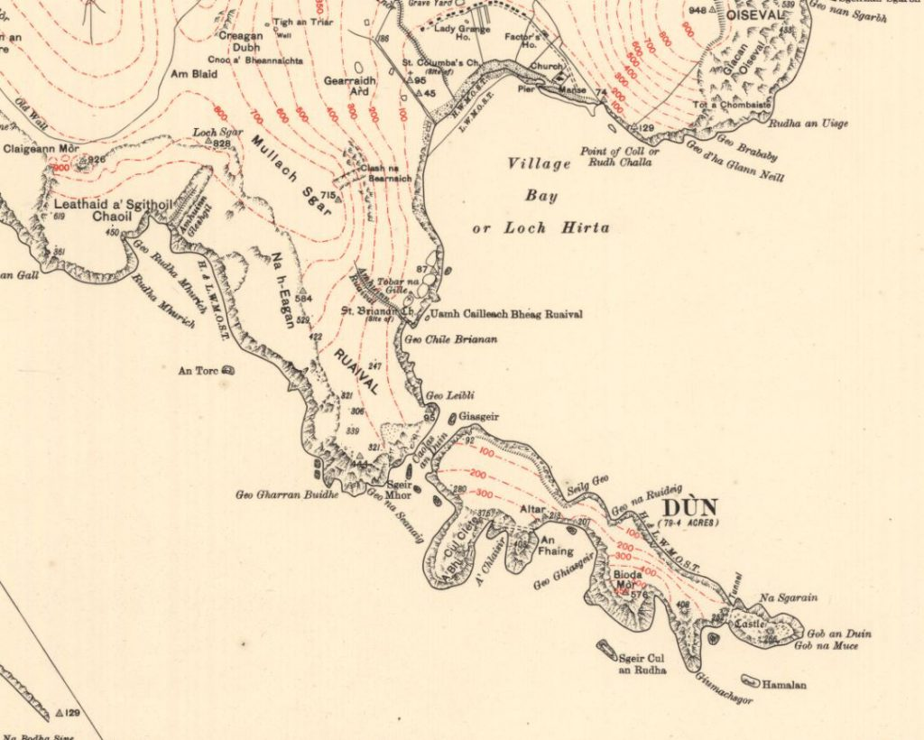 Detail of the island of Dun from Map of St Kilda or Hirta, 1928.