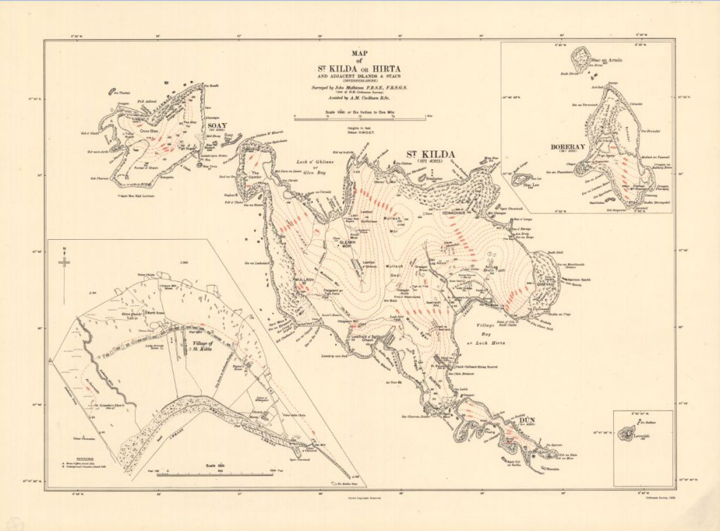 Map of St Kilda or Hirta. 1928.
