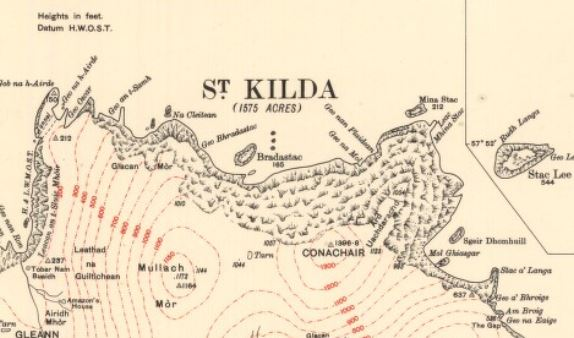 Detail of island of Hirta from 1928 map of St Kilda and Hirta.