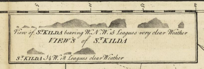 View of the islands of St Kilda, detail from Murdoch Mackenzie Chart of North Part of the Lewis. 1750.