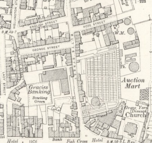 Extract from an Ordnance Survey map of Annan showing 'Gracie's banking' and surrounding area.
