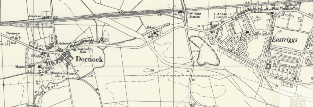 Extract from an Ordnance Survey map showing the area where HM Factory Gretna was.