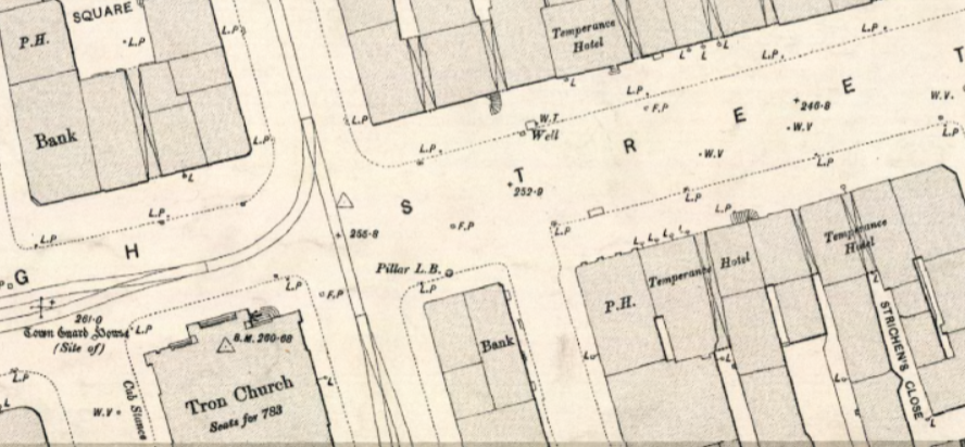 Extract from 1893 Edinburgh Town Plan showing 3 Temperance Hotels near the Tron Kirk.