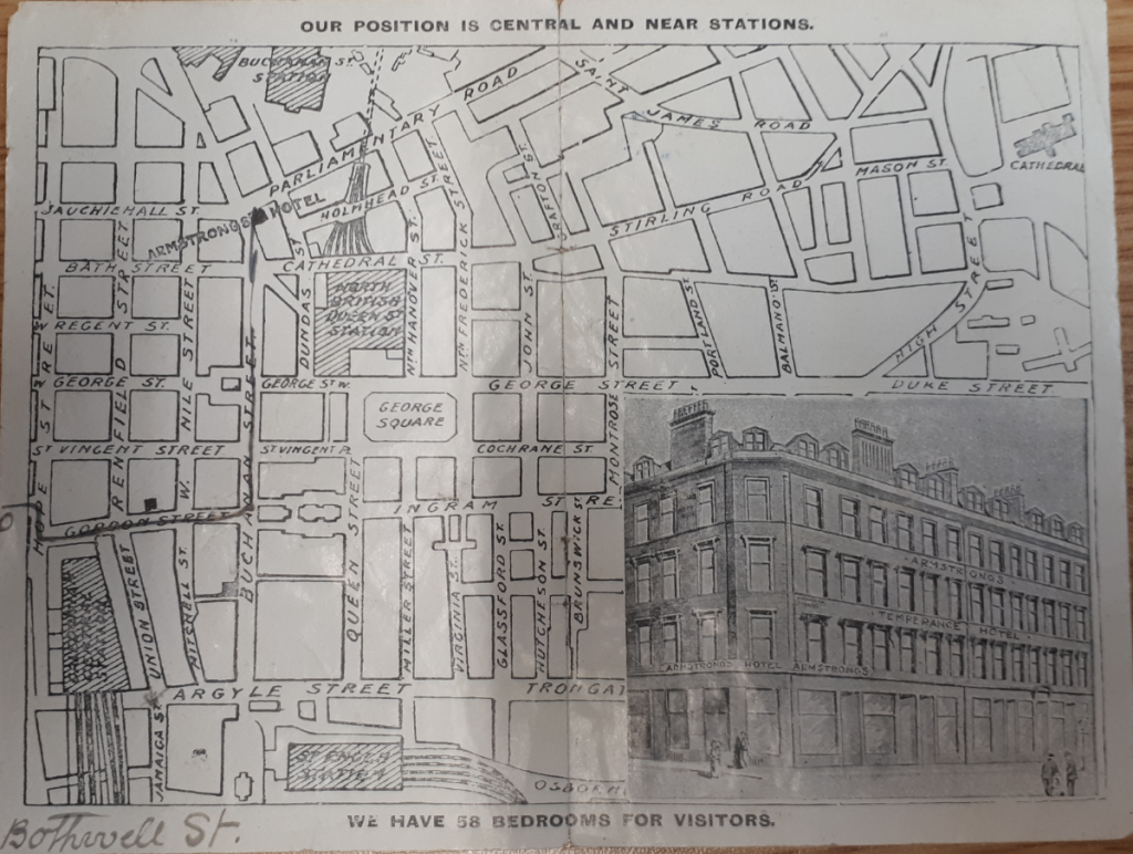 A small map of central Glasgow from an advertising leaflet for Armstrong's Temperance Hotel.