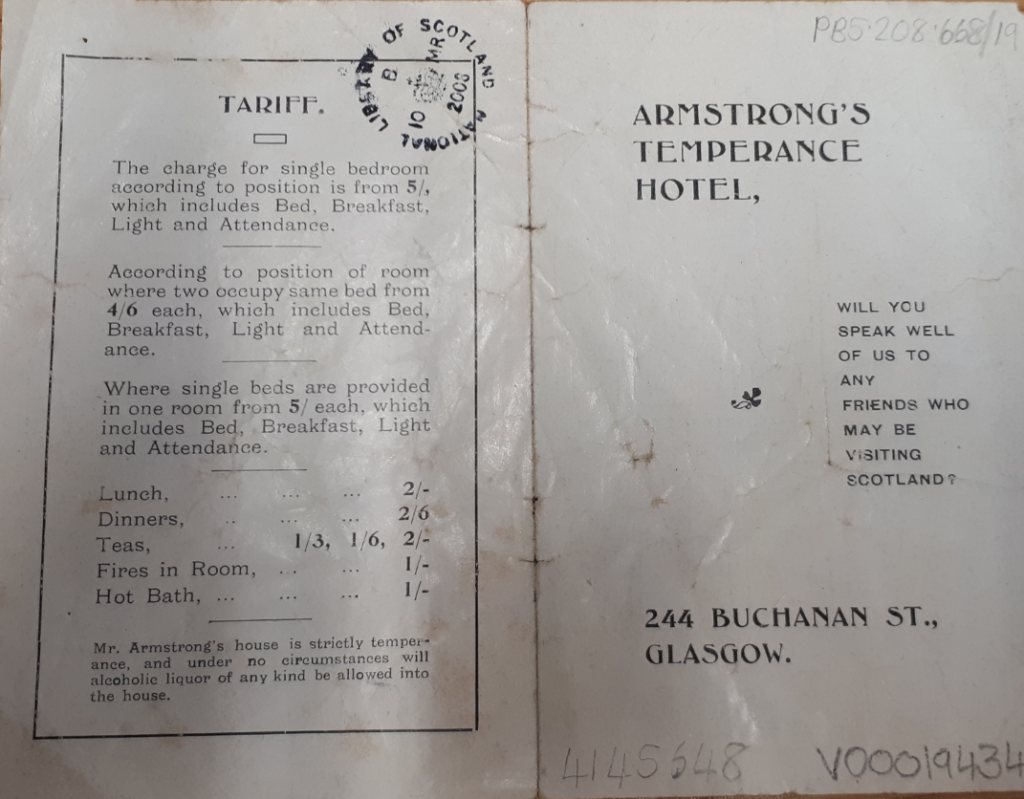 The outside of the Armstong's Temperance Hotel leaflet giving the cost of staying there.