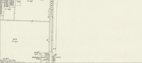Extract from an Ordnance Survey map showing the 'Ordnance Arms' pub in London, but not the Royal Small Arms Factory across the road.