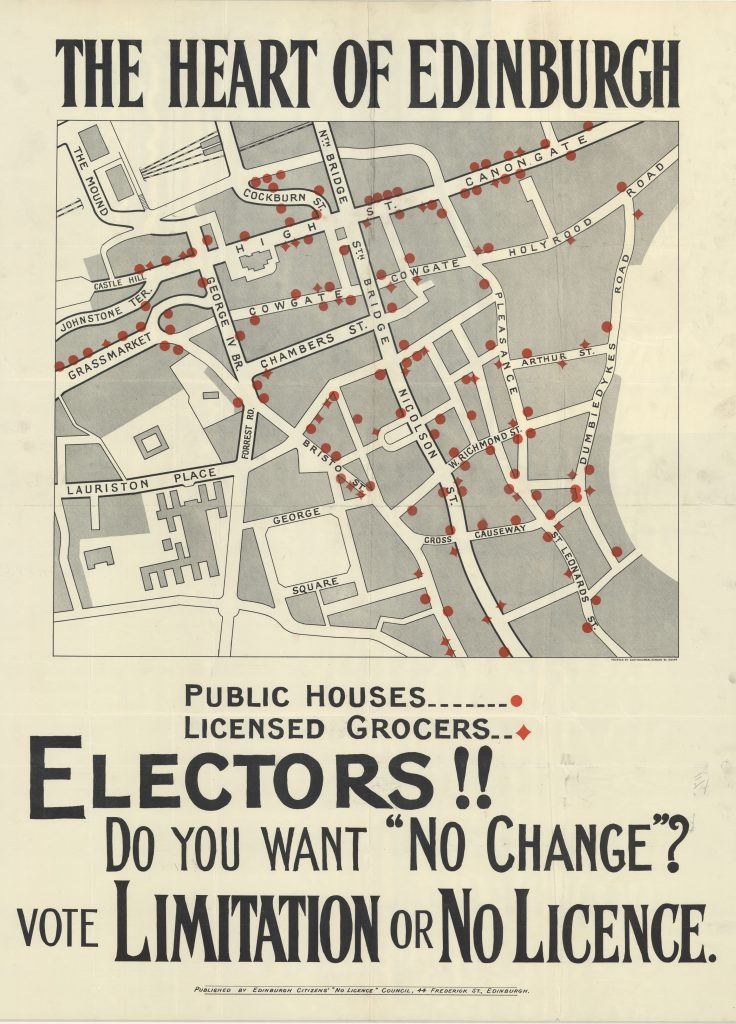 Map showing the locations of the pubs and off-licences in Edinburgh Old Town in 1923.