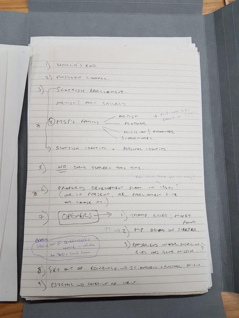 Handwritten notes of Ian Rankin, in black and blue ink, outlining plot points and possible scene locations.