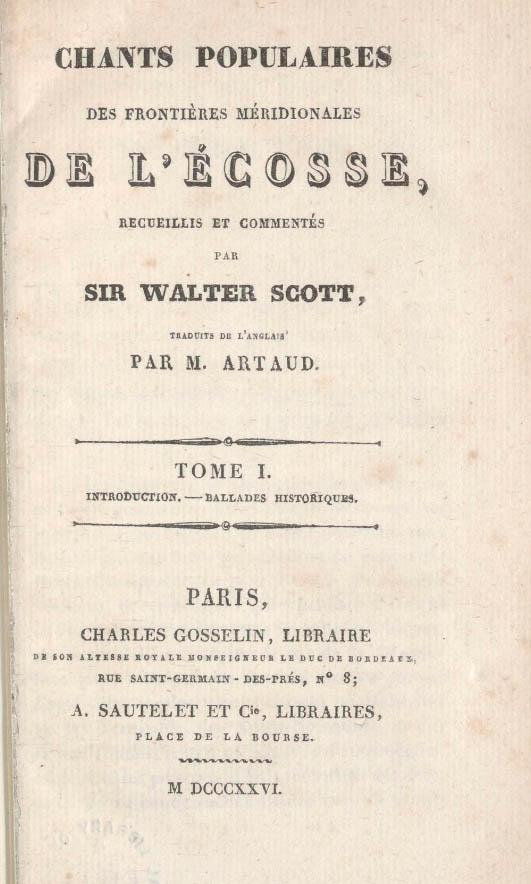 Minstrelsy French edition