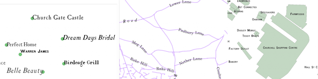 Some examples of how the text labels are positioned on the synthetic maps, reproducing the rules of word-placement in OS maps