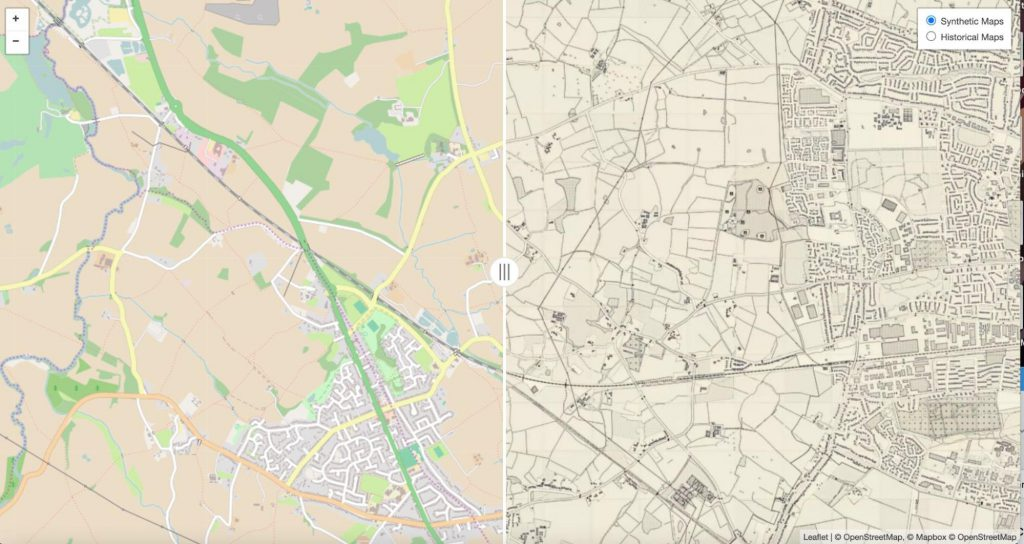 A side-by-side view of an area in OpenStreetMap, and the corresponding synthetic map generated in the style of OS maps