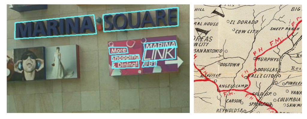 On the left: example of an image where the text is easy to identify, and the algorithm is able to create bounding boxes around the detected words. On the right: an example of the visual complexity of maps, that makes detecting words automatically very challenging